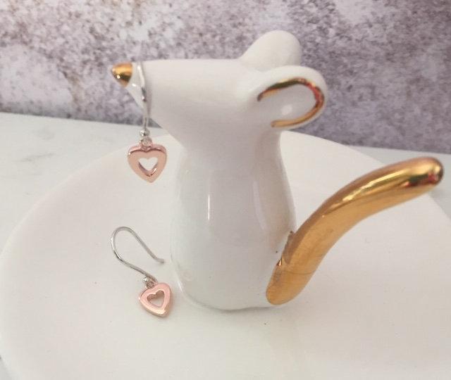 925 Sterling silver & rose gold drop earrings