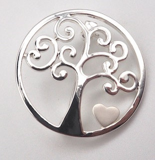 Silver Tone Tree of Life Brooch