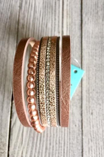 Leather multi stranded bracelet