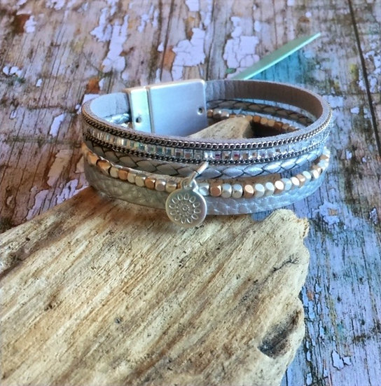 Leather and Silver Plated Bracelet