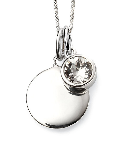 925 Sterling silver April birthstone and engravable disc