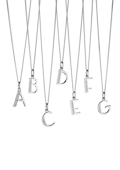 925 Sterling silver initials with cubic zirconia detail