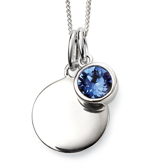 925 Sterling silver September birthstone and engravable disc