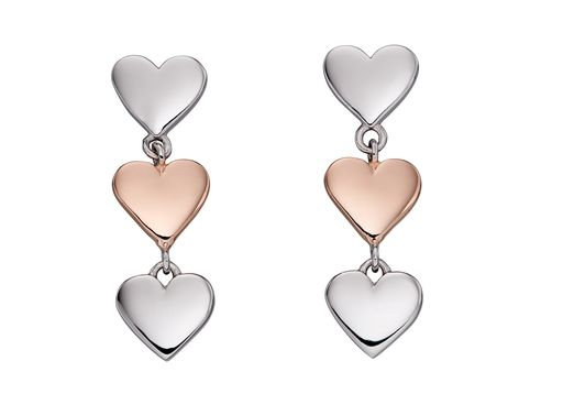 Fiorelli 925 sterling silver and rose gold plate drop earrings