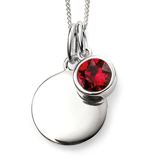 925 Sterling silver July birthstone and engravable disc