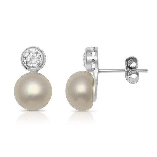 Freshwater Pearl and 925 Sterling Silver Stud Earrings