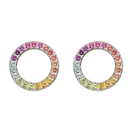 925 Sterling Silver Rainbow Stud Earrings