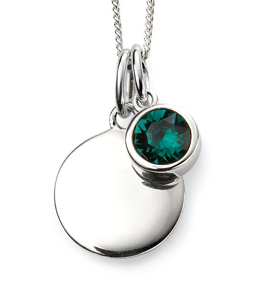 925 Sterling silver May birthstone and engravable disc