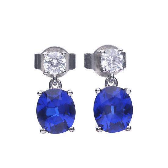 Diamonfire sterling silver oval drop earrings