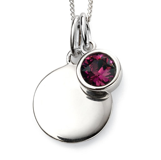 925 Sterling silver February birthstone and engravable disc