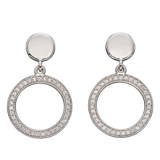 Fiorelli 925 sterling silver earrings with pave crystals