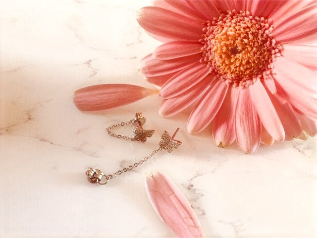 925 Sterling silver butterfly and chain stud earrings