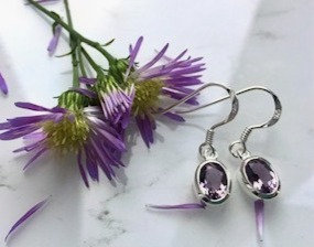Amethyst and 925 Sterling Silver Drop Earrings
