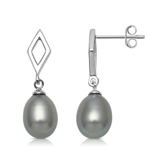 Freshwater Pearl and 925 Sterling Silver Drop Earrings