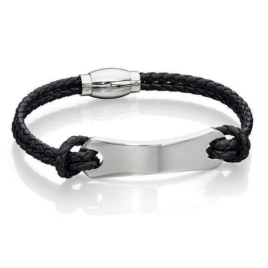 Fred Bennett Leather Bracelet with ID Bar