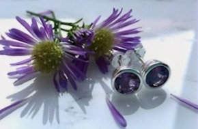 Amethyst and 925 Sterling Silver Studs