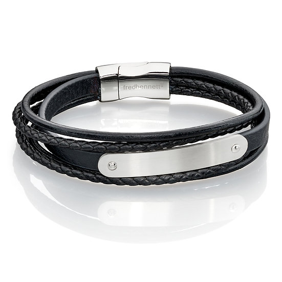 Fred Bennett Multi Band Leather Bracelet with ID Bar