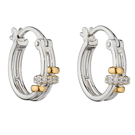 Fiorelli 925 sterling silver with yellow gold detail hoop earrings
