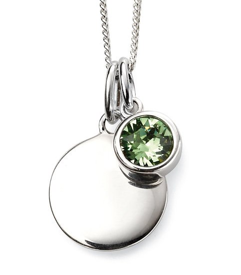 925 Sterling silver August birthstone and engravable disc