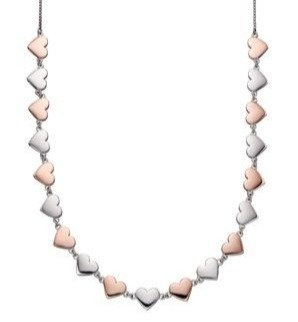 Fiorelli 925 Sterling silver and rose gold plate heart necklace