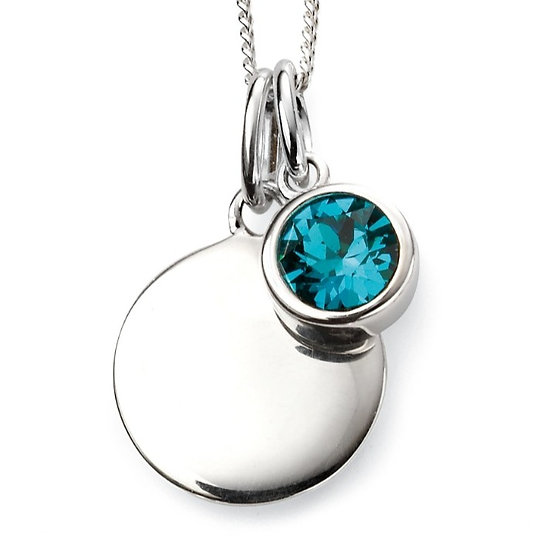925 Sterling silver December birthstone and engravable disc