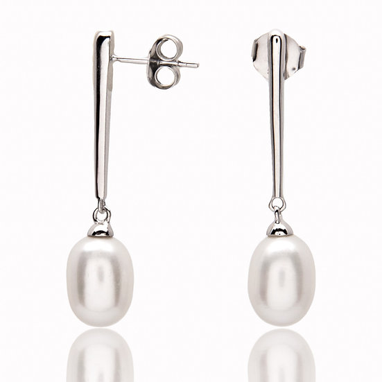 925 Sterling Silver and Freshwater Pearl Drop Earrings