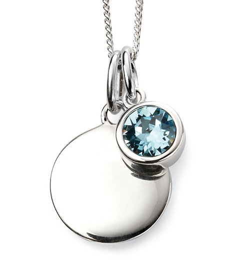 925 Sterling silver March birthstone and engravable disc