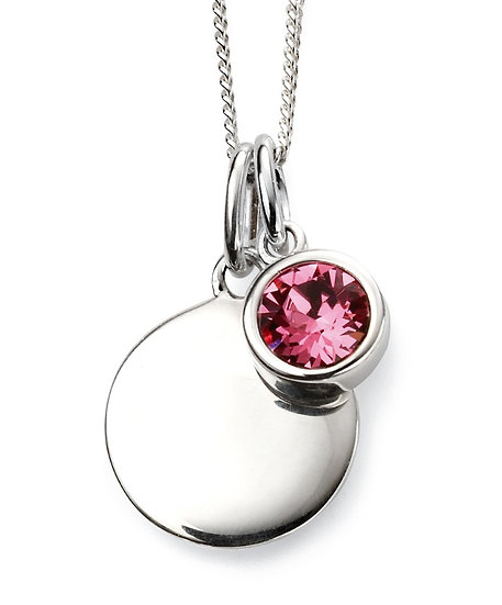 925 Sterling silver October birthstone and engravable disc