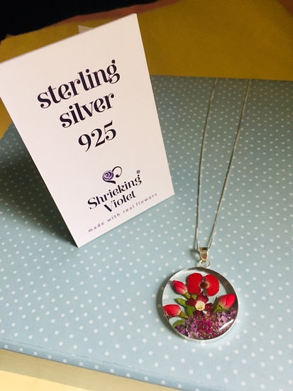 925 Sterling silver necklace with real flowers from Shrieking Violet