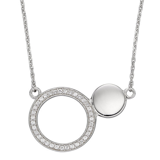 Fiorelli 925 sterling silver necklace with pave crystals