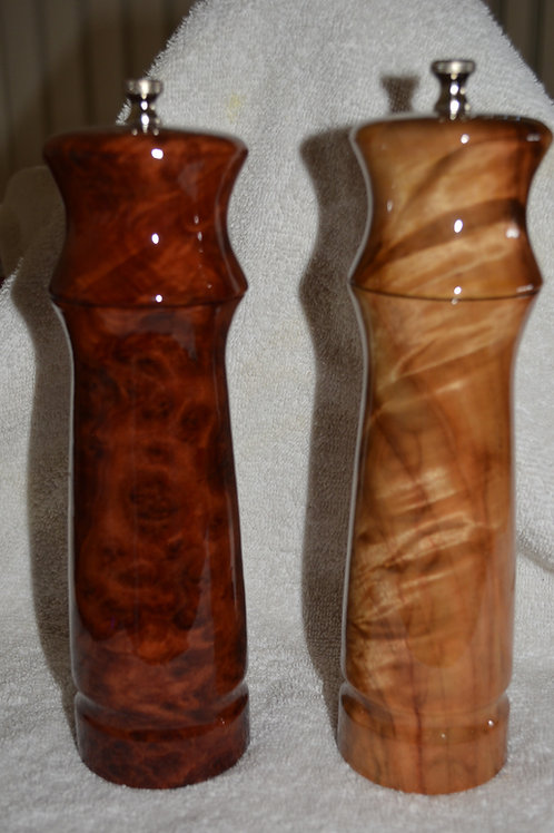Handmade Burl Salt and Pepper Mill Set