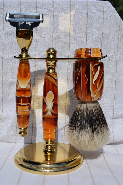 Handmade 3 Piece 24mm Acrylic Shaving Set