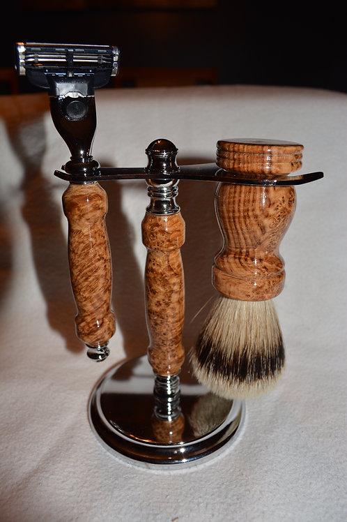 Handmade 3 Piece Black Ash Burl Wood Shaving Set