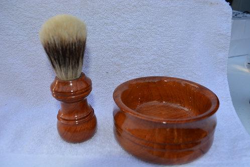Redwood Root Burl Shaving Bowl and Brush Set