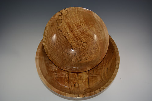 Highly Figured and Spalted Maple Bowl Set 2 pc