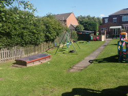 sandpit and swings