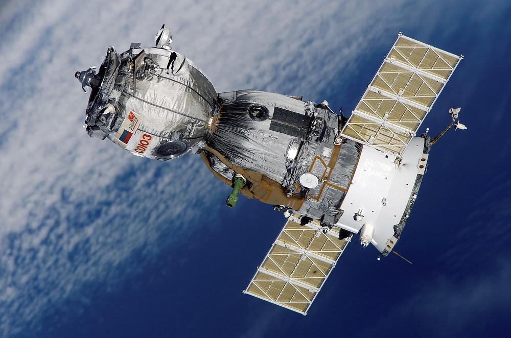 Solar panel on satellite