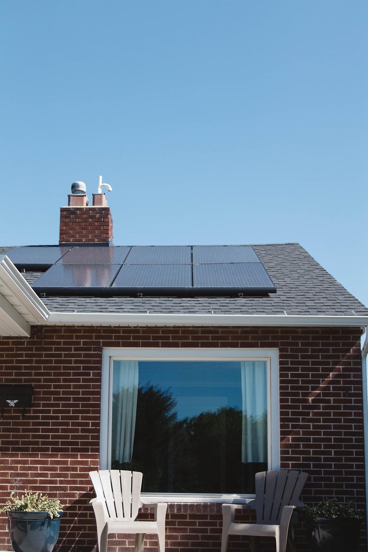 Solar panels installed on house