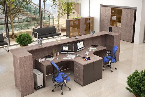 """Мебель для приемной """"DEX"""" - стойка ресепшен прямая на 2 раб.места"""