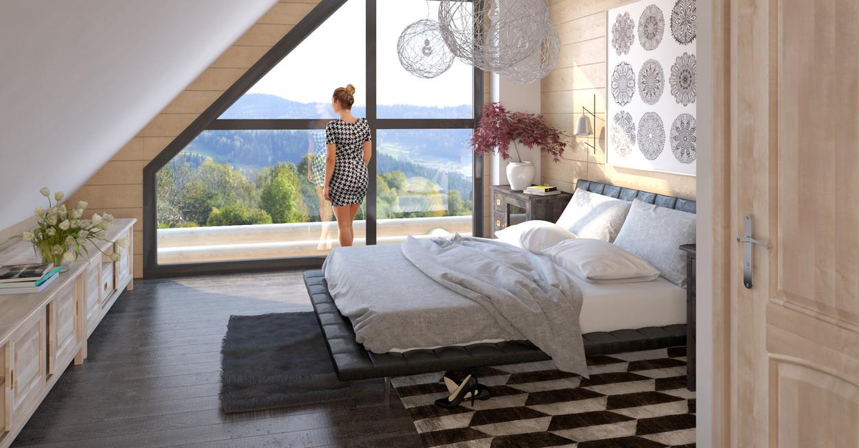 sypialnia na poddaszu, w drewnie, dom z