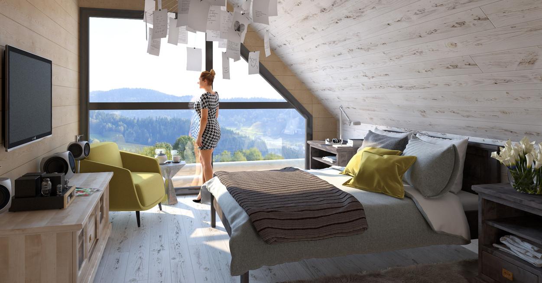 sypialnia z bielonego drewna duze okna.j