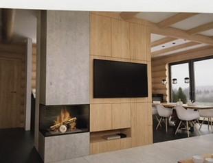 dom z bali - salon, zabudowa pod TV