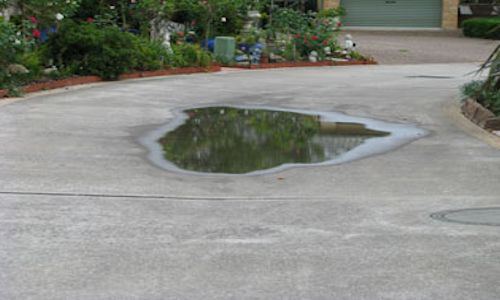 Collected rain water driveway