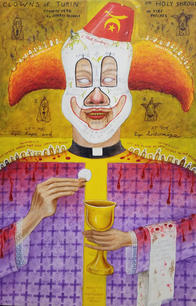 """Norbert Kox Clowns of Turin, from the series """"Magic Man: Clod Ministry.""""  2016 Oil on panel 30 x 20 in."""