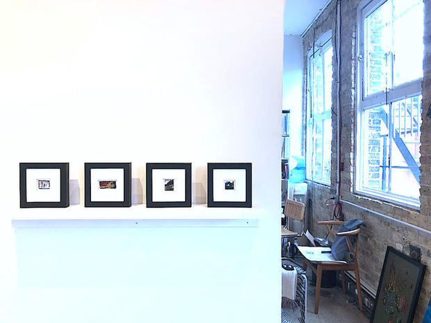 Installation view, row of framed M. Winston painting, 2019
