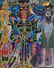 Romano Johnson Cat Woman Black X-Man, 2020 Glitter and acrylic paint on canvas 60 x 48 inches
