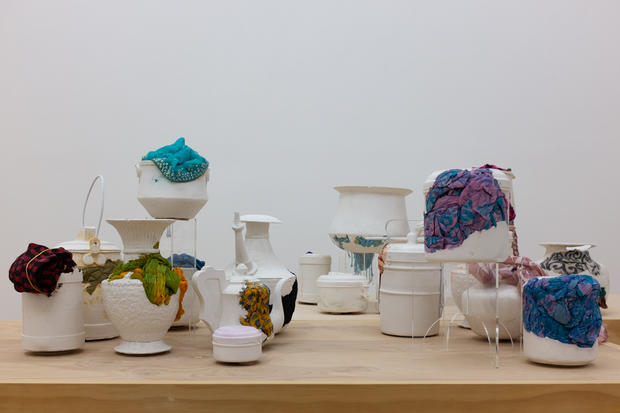 Nirmal Raja Contained - A Still Life  2019 Cast plaster and fabric Dimensions variable