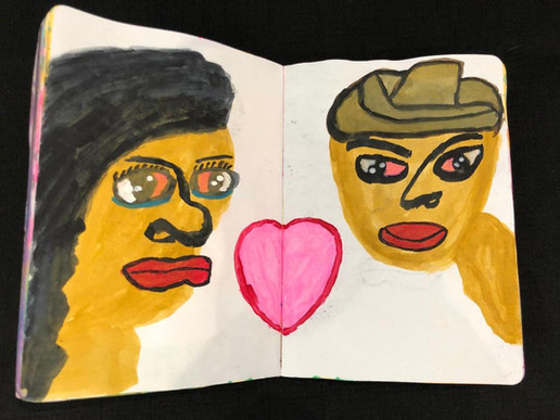 Shirley Goodman, sketchbook page, couple