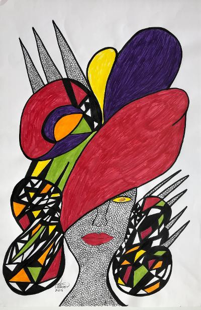 Rosemary Ollison Untitled (Hat) Hot Moma Series 2017 ink and glitter on paper  24 x 18 inches