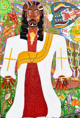 Romano Johnson The Yellow Moon Healing God, 2020 Glitter and acrylic paint on canvas 72 x 48 inches